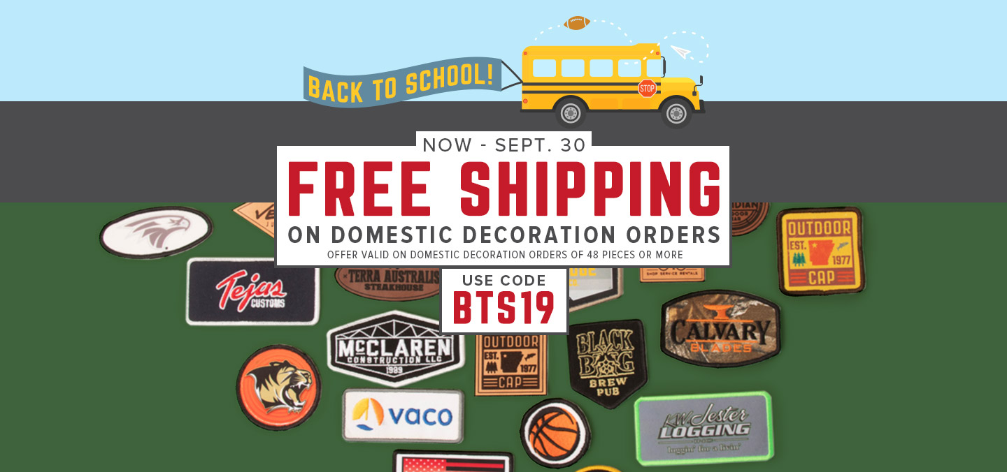 get free shipping on domestic custom orders of 48 pieces or more. Use code BTS19.
